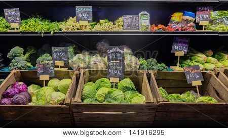 August 9, 2016 - Los Angeles, USA : Fresh vegetable stall of greengrocery in Grand Central Market, famous food place in downtown LA.