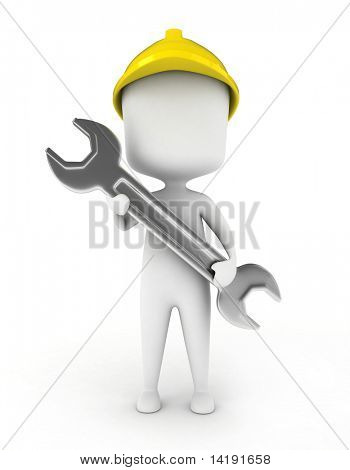 3D Illustration of a Mechanical Engineer Holding a Large Open-End Wrench