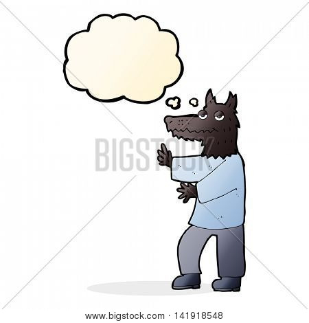 cartoon werewolf with thought bubble