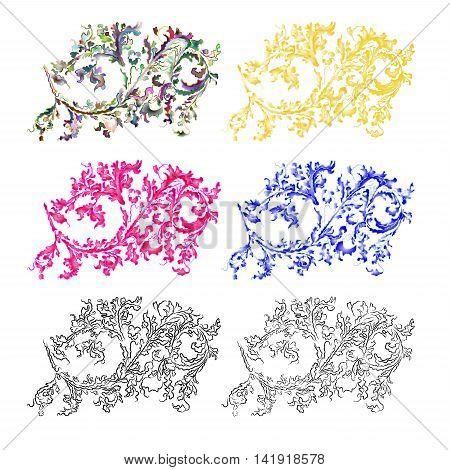 Ornaments filigree floral pattern vintage vektor illustration