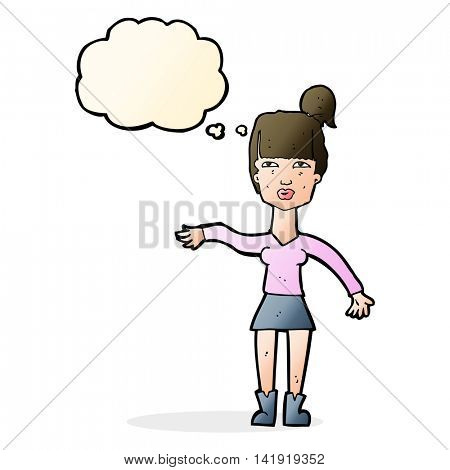 cartoon woman making dismissive gesture with thought bubble