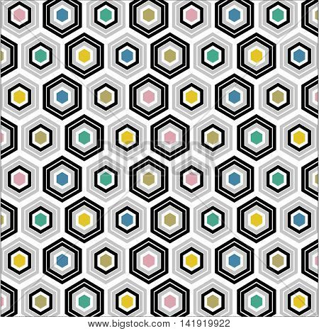 Abstract geometric background. Optical illusion colored rhombs. Seamless texture