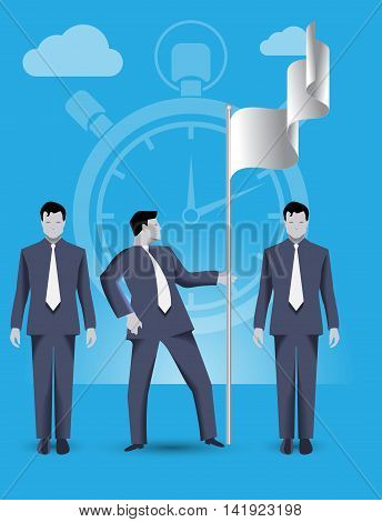 Business concept of teamwork and business team claiming ground together. Three businessmen conquer share on market and set the flag working together and helping each other.