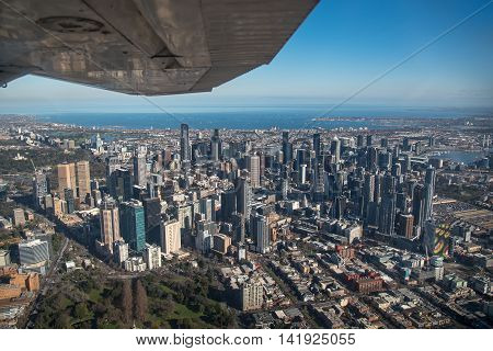 Aerial view of Modern building in Melbourne city and port phillip bay Melbourne is the capital and most populous city in the Australian state of Victoria Australia