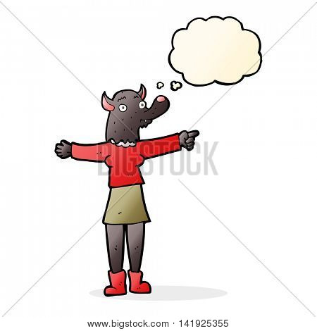 cartoon pointing werewolf woman with thought bubble