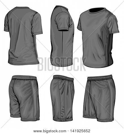 Men's short sleeve t-shirt and sport shorts. Vector illustration. No mesh, spot colors only.