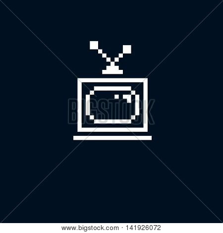 Vector pixel icon isolated 8bit graphic element. Simplistic TV set sign television and media idea.