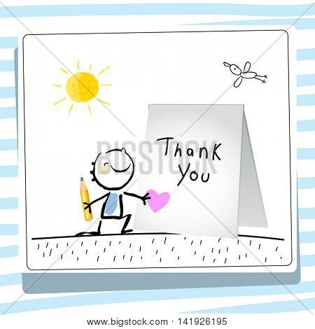 Kids thank you card vector illustration. Child writing thank you. Sketch, scribble style doodle.