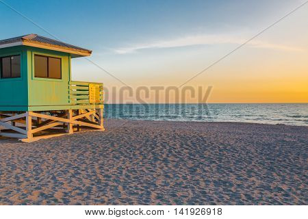 Lifeguard Tower in Venice Beach Florida at sunset