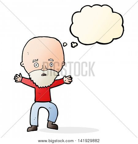 cartoon panicking old man with thought bubble