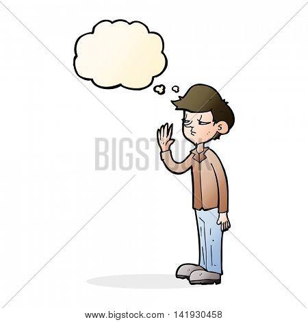 cartoon arrogant boy with thought bubble