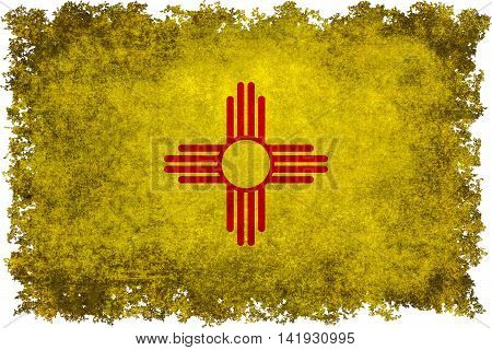 State flag of New Mexico with vintage distressed textures and edges