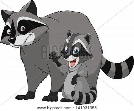 Vector illustration funny exotic animal raccoon family