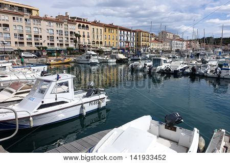 Port Vendres France - June 12 2016: Harbor with boats and houses in Port Vendres at the cote Vermeille in the south of France