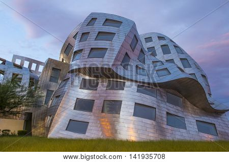 LAS VEGAS - JUNE 18 : The Cleveland Clinic Lou Ruvo Center for Brain Health in downtown Las Vegas Nevada on June 18 2016 the modern building designed by the architect Frank Gehry