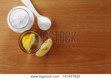 top view of baking soda on the wooden table