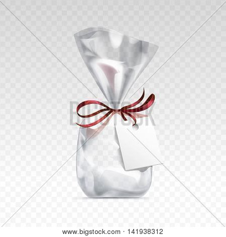 Vector Empty Transparent plastic gift bag for package design with red shiny ribbon and blank white label Close up Isolated on Transparent  Background