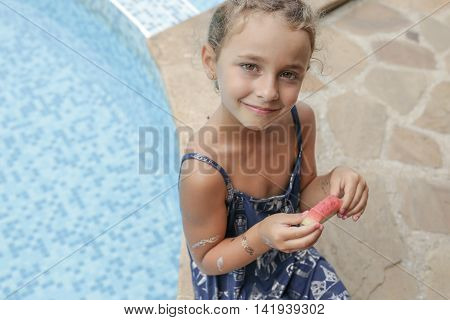 Cute Little Girl In Summer Mood