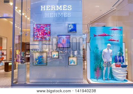 LAS VEGAS - MAY 21 : Exterior of a Hermes store in Las Vegas strip on May 21 2016. Hermes is famous luxury brand existing since 1837.
