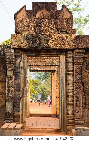 ANGKOR WAT CAMBODIA - JANUARY 28 2015: Banteay Srei or Banteay Srey is a 10th-century Cambodian temple dedicated to the Hindu god Shiva. Located in the area of Angkor in Cambodia