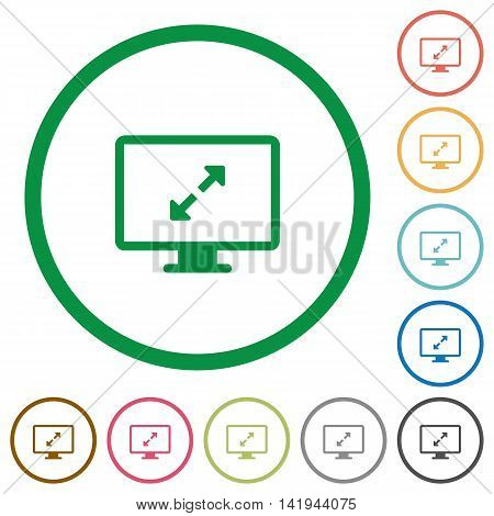 Set of screen resolution color round outlined flat icons on white background