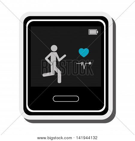 flat design single smartwatch heartrate monitor icon vector illustration