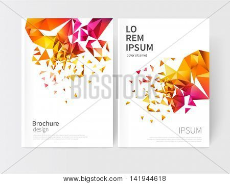 scatter triangles / vector white business brochure cover template.modern abstract geometric background orange, yellow, purple and red triangles.