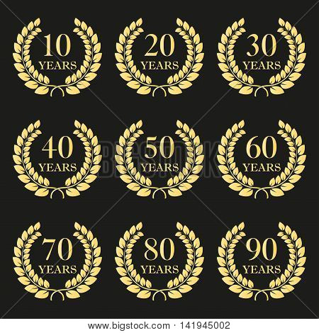 Anniversary laurel wreath icon set. Golden anniversary symbols isolated on black background. 10,20,30,40,50,60,70,80,90 years. Template for award and congratulation design. Vector illustration.