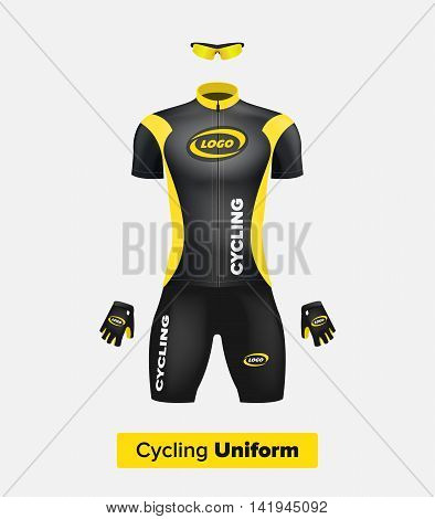 Realistic vector cycling uniform template. Black and yellow. Branding mockup. Bike or Bicycle clothing and equipment. Special kit: short sleeve jersey gloves and sun glasses. Front view.