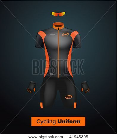 Realistic vector cycling uniform template. Black and orange. Branding mockup. Bike or Bicycle clothing and equipment. Special kit: short sleeve jersey gloves and sun glasses. Front view