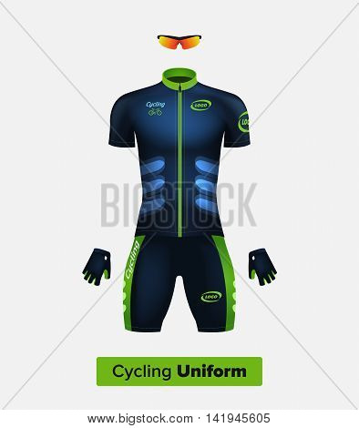 Realistic vector cycling uniform template. Blue and green. Branding mockup. Bike or Bicycle clothing and equipment. Special kit: short sleeve jersey gloves and sun glasses. Front view poster