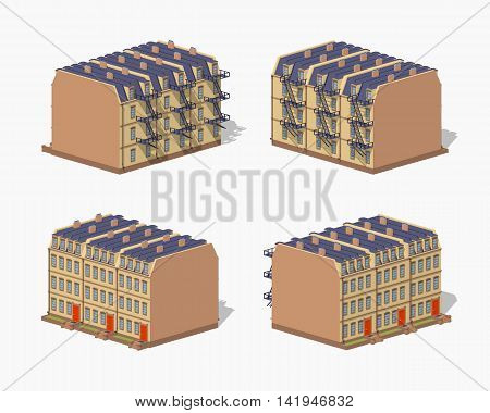 Brownstone town house. 3D lowpoly isometric vector illustration. The set of objects isolated against the white background and shown from different sides
