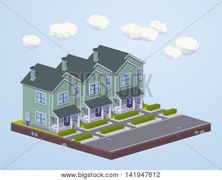 Suburban houses in line. 3D lowpoly isometric vector concept illustration