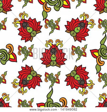 Chinese traditonal seamless pattern with red flowers on white background. Vector design for textile, wallpaper, fabric, packaging, covers and others