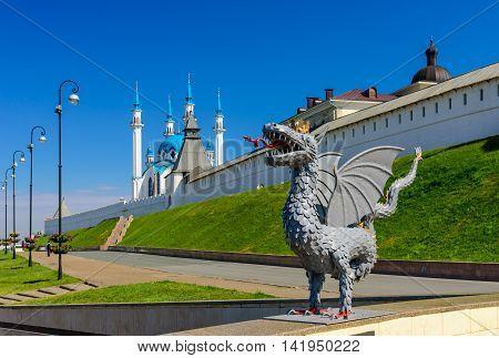 Kazan, Russia - June 11, 2016:  Zilant in front of Kazan Kremlin in the June 11, 2016, Kazan, Tatarstan, Russia.