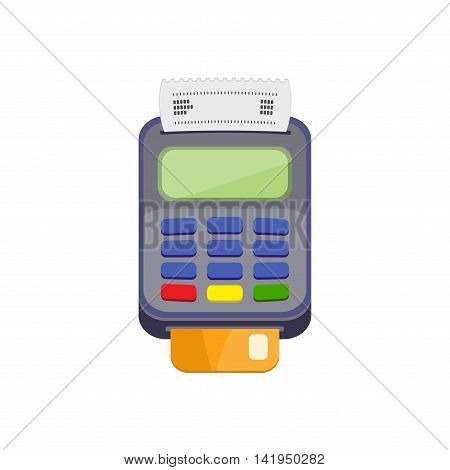 POS terminal or credit card terminal with bank card. Cashless payments. Pos payment and credit card payment concept. Vector icon isolated on a white background. Flat design.