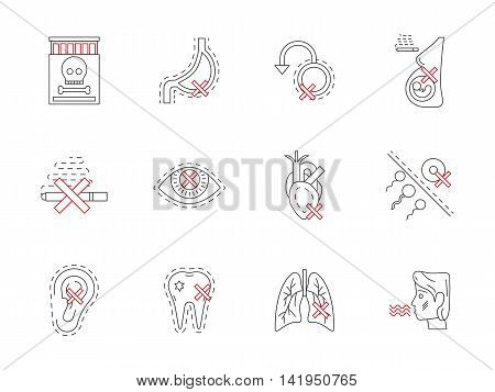 Cigarettes harm to heart, lungs, pregnancy, reproductive system and other vital organ systems. Symbols of smoking destroying health. Flat black and red line vector icons collection.