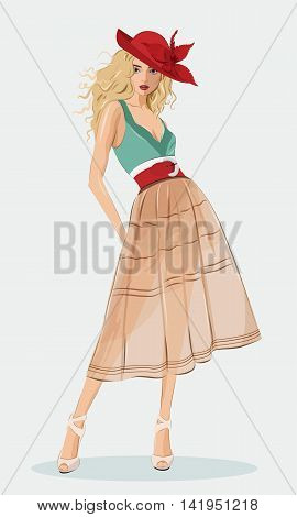 Stylish beautiful girl wearing fashion clothes and red hat. Detailed cute graphic woman. Vector fashion illustration.