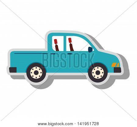 pick-up vehicle transport, isolated flat icon design