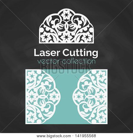 Laser Cut Card. Template For Laser Cutting. Cutout Illustration With Floral Ornament. Die Cut Wedding Invitation Card. Vector Envelope design. poster