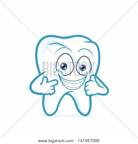 Clipart picture of a tooth cartoon character with braces on teeth