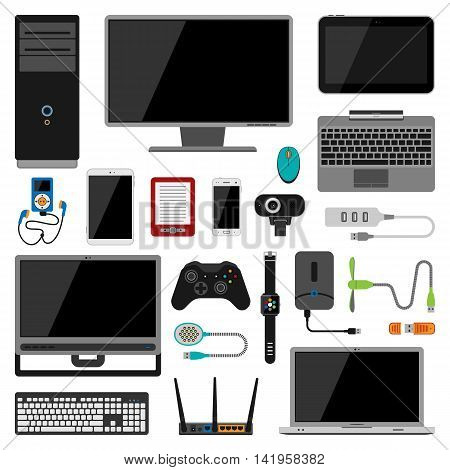 Electronic gadgets vector icons. Technology electronics multimedia devices. Everyday technology objects. Control gadgets. Control vector icons collection. Computer gadjects