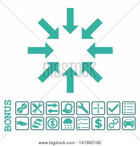 Collapse Arrows icon with bonus pictograms. Vector style is flat iconic symbol, cobalt and cyan colors, white background. Bonus style is bicolor square rounded frames with symbols inside.
