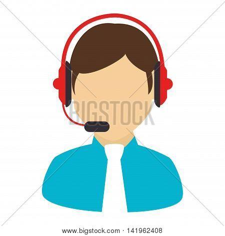 callcenter headset male, isolated flat icon design