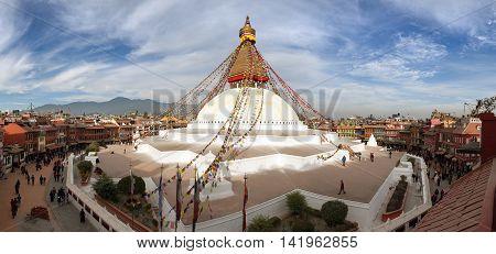 NEPAL KATHMANDU - 10TH OF DECEMBER 2014 - View of Bodhnath stupa