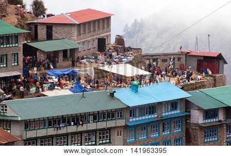NEPAL NAMCHE BAZAR 13th MAY 2016 - bazaar in Namche Bazar village there is center of Khumbu Valley Sagarmatha national park Nepal