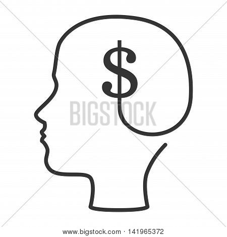 money and business mind, isolated flat icon design