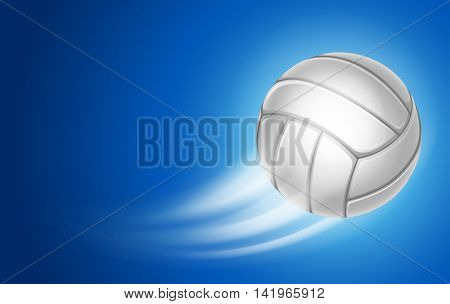 Horizontal Card for Volleyball Club with Flying Volleyball Ball on blue Background. Realistic Editable Vector Illustration.