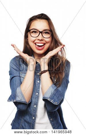 calm and friendly young  woman with glasses