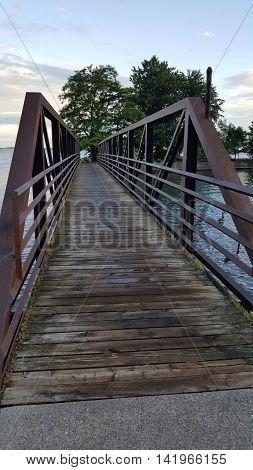 Crossing the bridge in downtown Kingston, Ontario